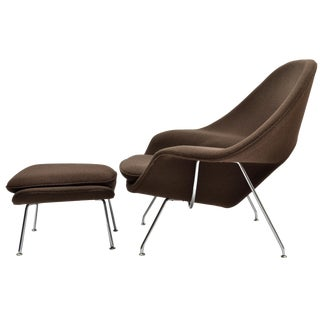 Eero Saarinen Womb Chair and Ottoman Produced by Knoll For Sale