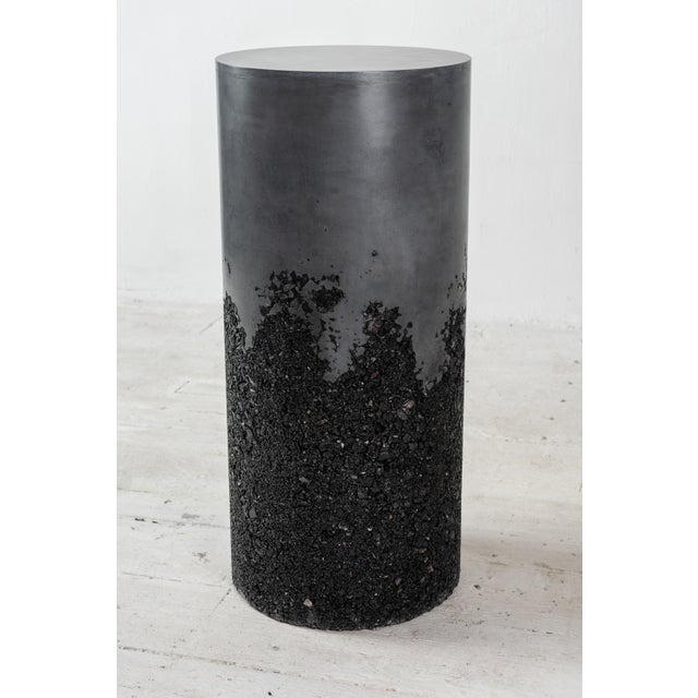 Not Yet Made - Made To Order Hand Made Tourmaline and Black Plaster Tall Drum, Side Table by Samuel Amoia For Sale - Image 5 of 13