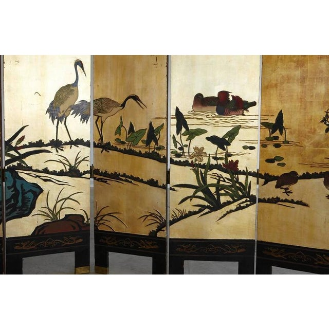 Chinese 12-Panel Double Sided Gold Black Lacquered Coromandel Screen For Sale In New York - Image 6 of 10