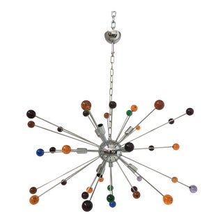 Murano Multicolor Glass Triedo Sputnik Chandelier For Sale