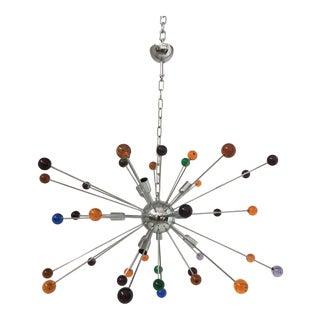 Murano Multicolor Glass Triedo Sputnik Chandelier For Sale