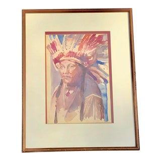 Vintage Western Watercolor For Sale
