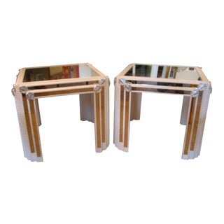 Pair of White Lacquered Silver Leaf and Mirrored End Tables For Sale