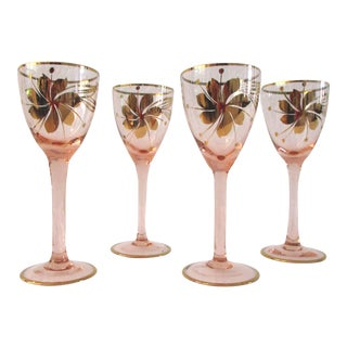 Mid-Century Blush Pink & Gold Hungarian Cordial Glasses - Set of Four For Sale