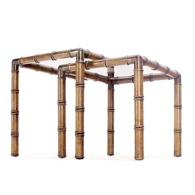 Mid Century Modern Faux Bamboo Nesting Stacking End Tables- a Pair For Sale - Image 6 of 10