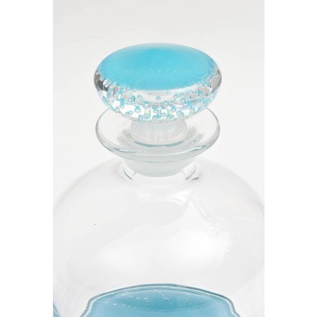 Contemporary Tiffany Blue Glass Decanter, Classic Shape, Many Colors Available, Custom For Sale - Image 3 of 10