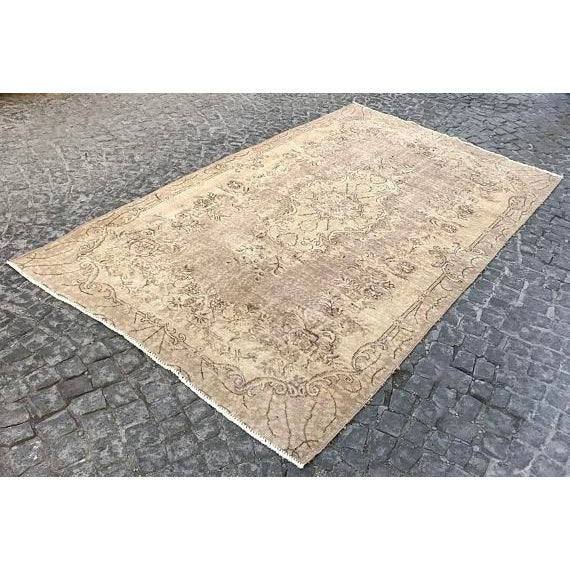 Floor Overdyed Beige Rug - 5′6″ × 9′1″ For Sale - Image 6 of 6