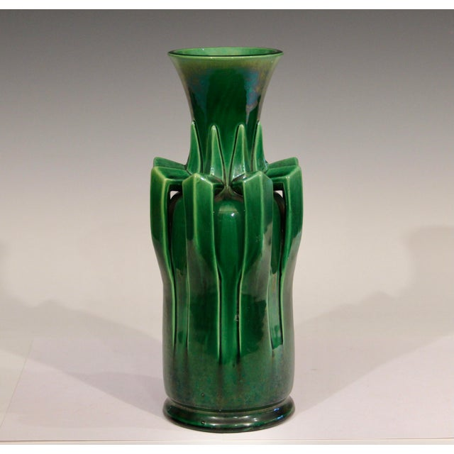 1910s Awaji Pottery Organic Arts & Crafts Petal Handle Green Monochrome Vase For Sale - Image 12 of 12