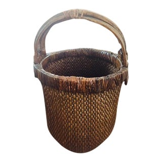 Antique Chinese Handwoven Willow Market Basket For Sale