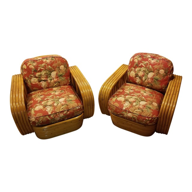 Mid-Century Vintage Paul Frankl Style Bamboo Rattan Lounge Chairs - a Pair For Sale