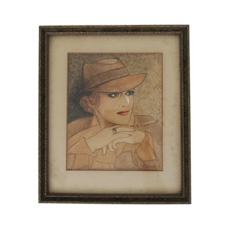 Vintage 5 X 7 Smoking Woman in Trench Coat Fine Art Self Portrait Drawing Print Framed Wall Art