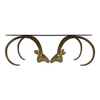C. 1970s Alain Chervet Style Bronze Ibex Head Coffee Table For Sale