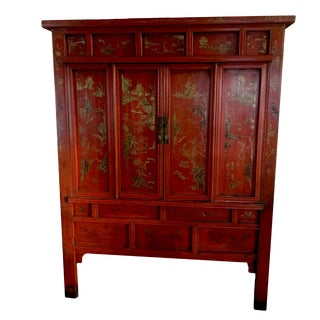 19th Century Chinoiserie Lacquered Wardrobe Armoire For Sale