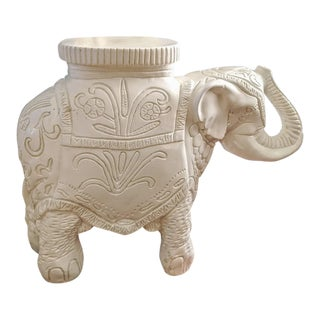 1970s Vintage White Plaster Elephant Garden Stool For Sale