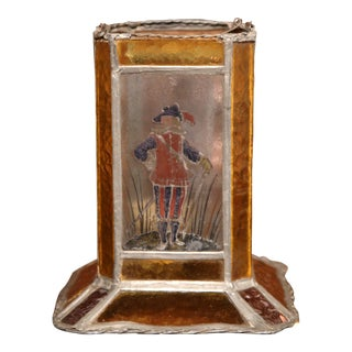 19th Century French Stain Glass Lantern with Four Hand-Painted Musketeers