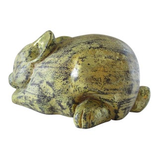 Hand Carved Wooden Gilt Bunny Rabbit For Sale