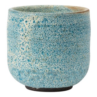 Tea Cup With Blue Volcano Glaze Signed 2-71 For Sale