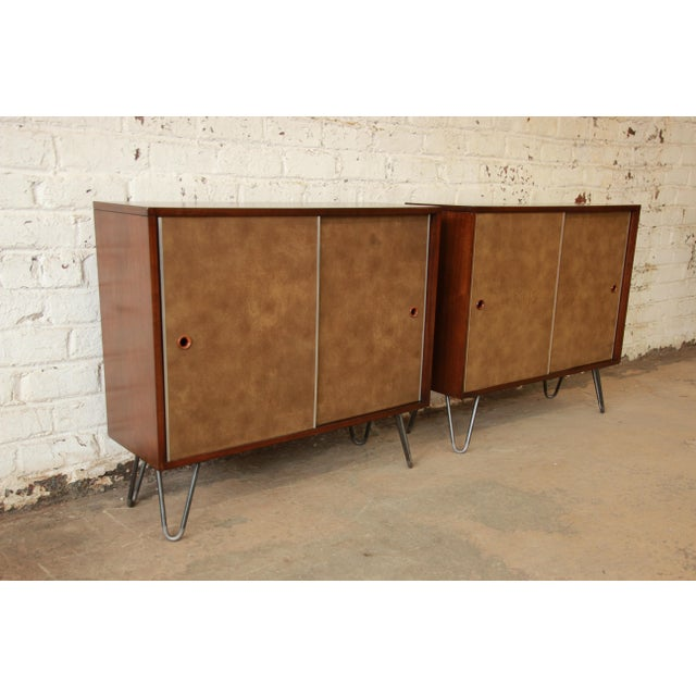 Paul McCobb for Calvin Small Cabinets on Hairpin Legs- a Pair - Image 4 of 9