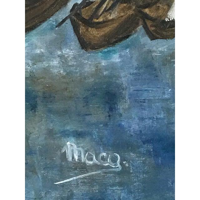 Original Framed Boats Oil Painting - Image 4 of 4