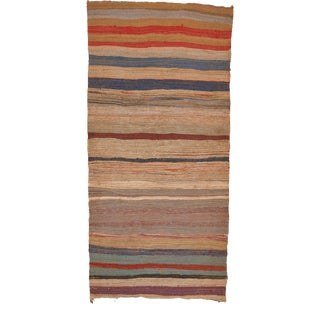 """Mid 20th Century Moroccan Rag Rug - 4'0"""" X 8'9"""" For Sale"""