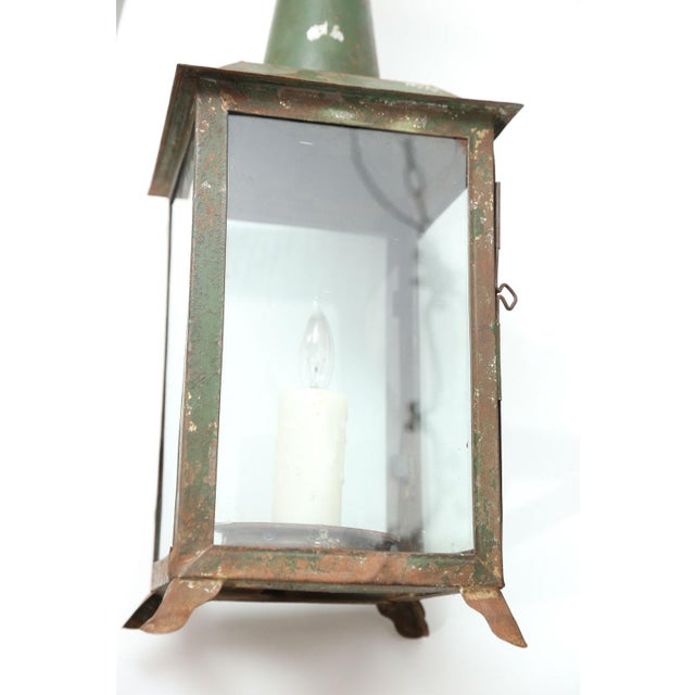 White Two French Tôle Lanterns For Sale - Image 8 of 10