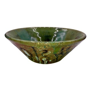 1960s Vintage Asian Modern Pottery Bowl For Sale