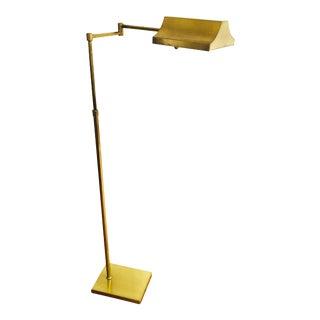 Vintage Adjustable Brass Pharmacy Floor Lamp For Sale