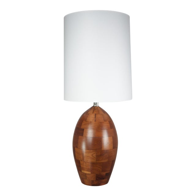 Staved Walnut Block Ovoid Lamp For Sale