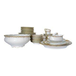 Vintage BMdeM, L. Strauss & Sons for Limoges Gilt Medallion Dinnerware - 60 Pieces For Sale