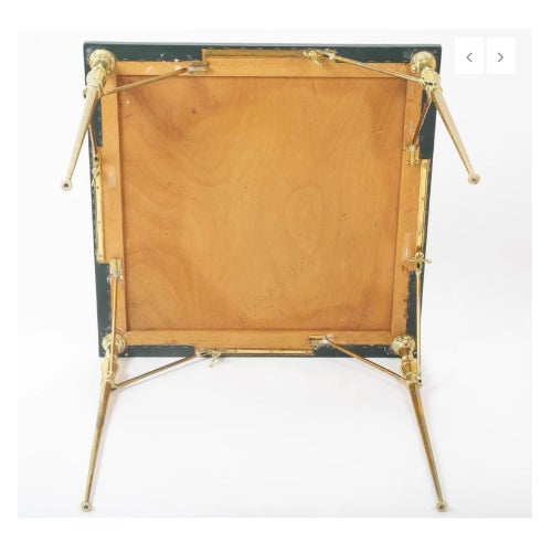 A Leather Top and Brass Folding Games Table For Sale In New York - Image 6 of 7