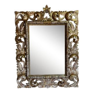 1920s Silver and Gold Gilt Carved Mirror For Sale