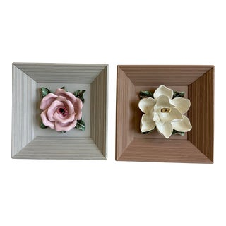 Midcentury Majolica Floral Wall Art - a Pair For Sale