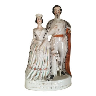 Mid 19th Century Antique King and Queen Sardinia Staffordshire Figurine For Sale