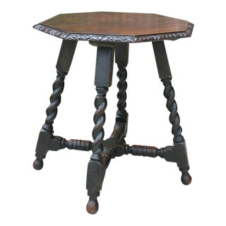 Antique English Barley Twist Table Carved Oak Octagonal End Table For Sale