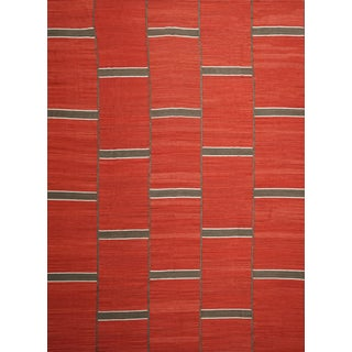 Modern Handwoven Red Kilim Rug With Minimalist Design For Sale