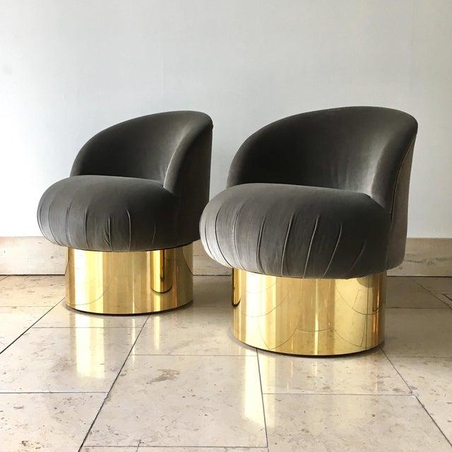 Mid-Century Modern Pair of Brass Based Grey Velvet Tub Upholstered Swivel Chairs For Sale - Image 3 of 6