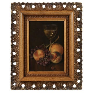 Vintage Mid-Century Still Life with Fruit and Wine Framed Oil Painting For Sale