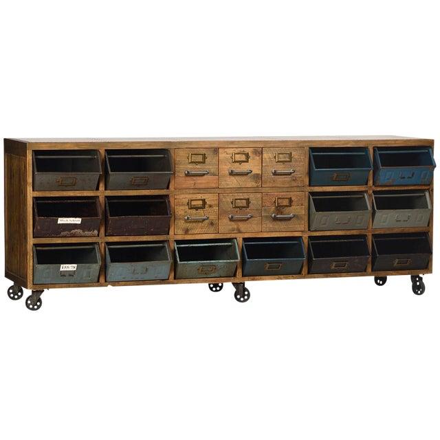 Industrial sideboard on wheels chairish for Buy reclaimed wood los angeles
