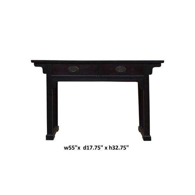 Brown Chinese Dark Brown Black Huali Rosewood Plain Ming Style Altar Table For Sale - Image 8 of 10