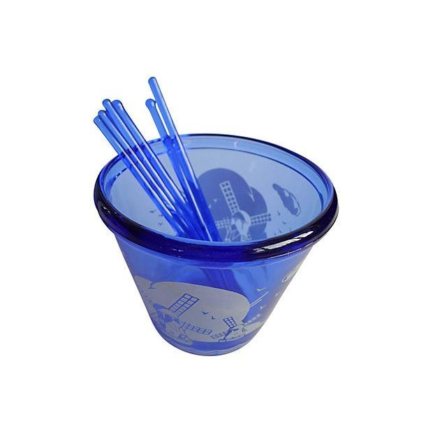 Vintage 1950s Blue Cocktail Shaker & Ice Bucket - Image 4 of 6