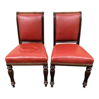Early 20th Century Red Leather + Nailhead Side Chairs - a Pair For Sale