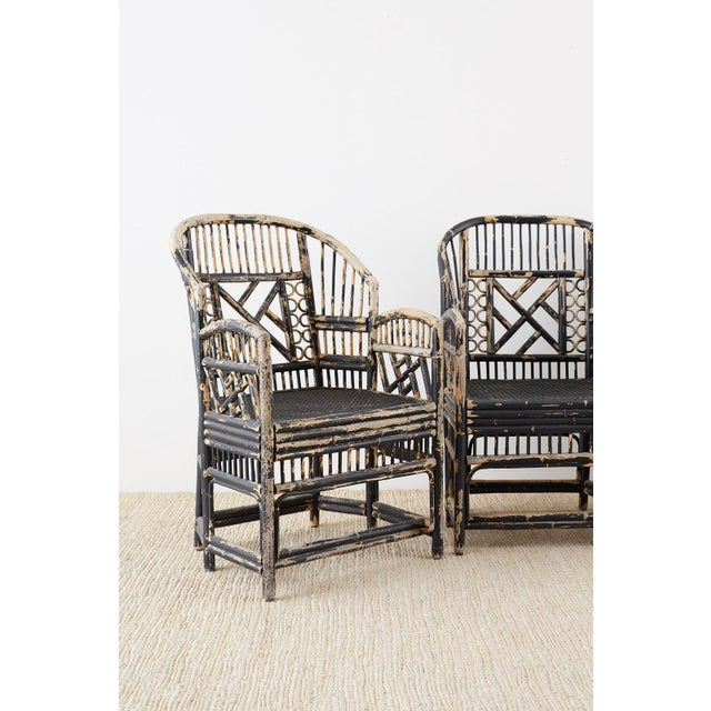 Brighton Bamboo Rattan Chinese Chippendale Lacquered Chairs For Sale - Image 4 of 13