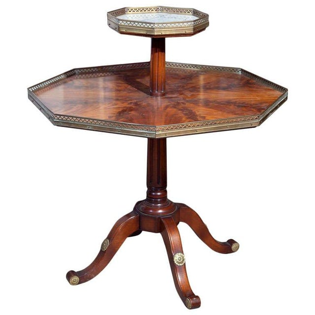 Jansen Mahogany Octagonal Two-Tier Table For Sale