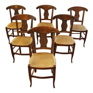 19th Century Vintage French Dining Chairs- Set of 6 For Sale