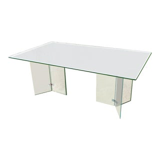 Mid Mod Pace Collection Style Glass and Lucite Minimalist Dining Table - Set of 7 For Sale