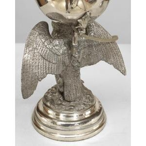 Pair of American Victorian style (19th Cent) silver plate eagle base oil lamps mounted for electricity