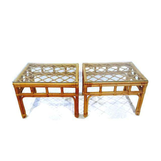 Vintage Bamboo Fretwork End Tables Glass Top Set - a Pair - Image 3 of 7