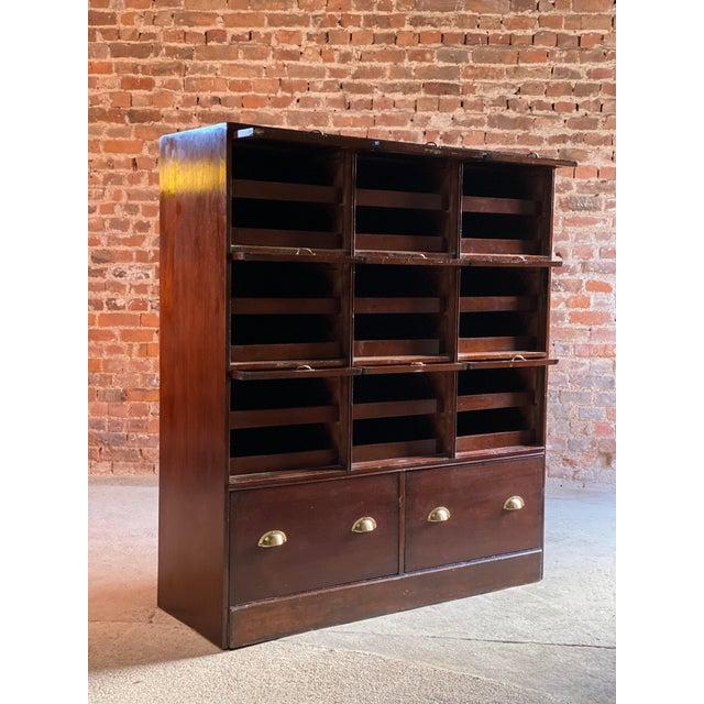 Wood Haberdashery Drapers Shop Display Cabinet Mahogany Loft Style, circa 1940 For Sale - Image 7 of 11