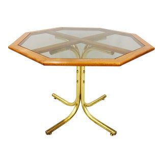 Vintage Mid-Century Modern Chrome Craft Brass & Wood Table For Sale