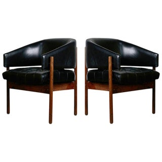 Original Jorge Zalszupin Rosewood & Leather Armchairs, Produced in 1972, Brazil For Sale
